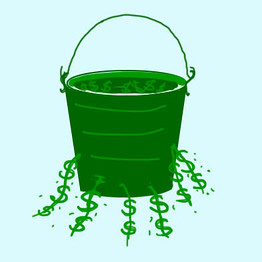 Bucket leaking money